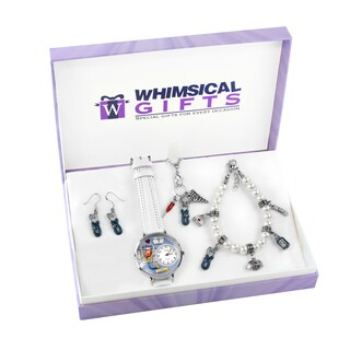 Nurse Silver 4-piece Watch-Bracelet-Necklace-Earrings Jewelry Set