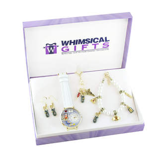 Nurse Gold 4-piece Watch-Bracelet-Necklace-Earrings Jewelry Set
