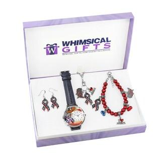 American Patriotic July 4th Silver 4-piece Watch-Bracelet-Necklace-Earrings Jewelry Set