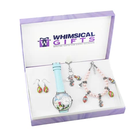 Easter Silver 4-piece Watch-Bracelet-Necklace-Earrings Jewelry Set