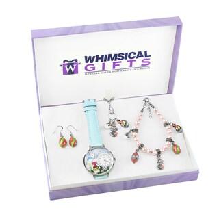 Easter Silver 4-piece Watch-Bracelet-Necklace-Earrings Jewelry Set