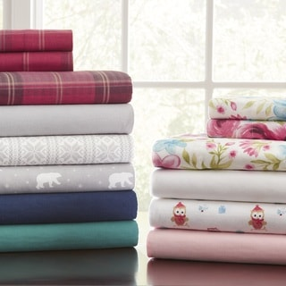 Pointehaven 175 GSM Cotton Flannel Bed Sheet Set with Oversized Sheets