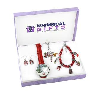 Christmas Silver 4-piece Watch-Bracelet-Necklace-Earrings Jewelry Set