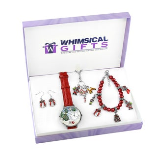 Christmas Silver 4-piece Watch-Bracelet-Necklace-Earrings Jewelry Set
