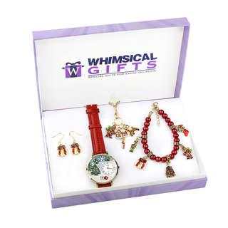 Christmas Gold 4-piece Watch-Bracelet-Necklace-Earrings Jewelry Set