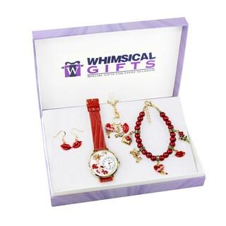 Valentine's Day Gold 4-piece Watch-Bracelet-Necklace-Earrings Jewelry Set