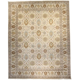 Hand-Knotted Oushak Ivory Wool Rug (12-inch x 15-inch)