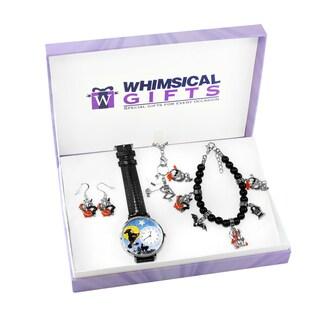 Halloween Silver 4-piece Watch-Bracelet-Necklace-Earrings Jewelry Set