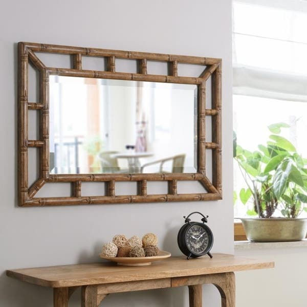 Shop Bamboo Wall Mirror 26 X 40 On Sale Overstock 12851918