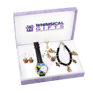 Halloween Gold 4-piece Watch-Bracelet-Necklace-Earrings Jewelry Set