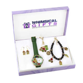 Casino Gold 4-piece Watch-Bracelet-Necklace-Earrings Jewelry Set