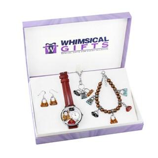 Purse Lover Silver 4-piece Watch-Bracelet-Necklace-Earrings Jewelry Set