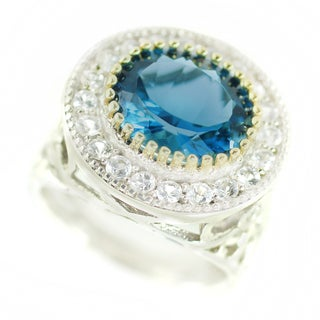 One-of-a-kind Michael Valitutti London Blue Topaz and White Sapphire Cocktail Ring
