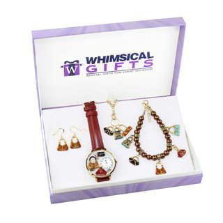 Purse Lover Gold 4-piece Watch-Bracelet-Necklace-Earrings Jewelry Set