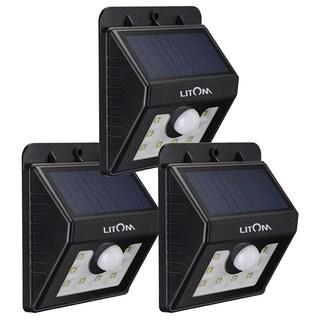 Super Bright Black Solar-powered Wireless Security 8-LED Motion Sensor Light (Pack of 3)