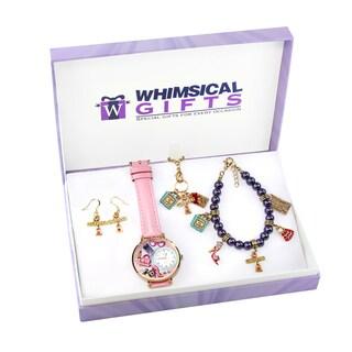 Shopper Mom Gold 4-piece Watch-Bracelet-Necklace-Earrings Jewelry Set