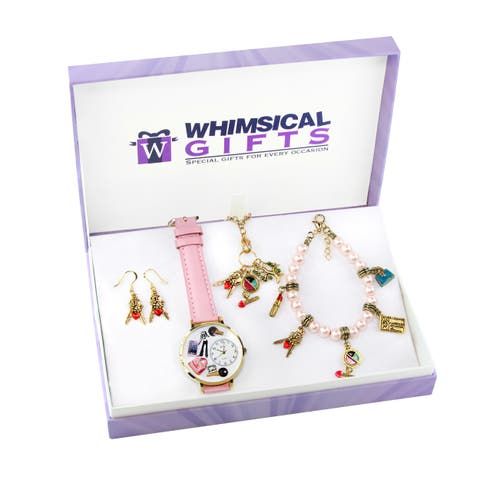 Teen Girl Gold 4-piece Watch-Bracelet-Necklace-Earrings Jewelry Set