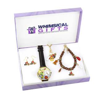 Dog Lover Gold 4-piece Watch-Bracelet-Necklace-Earrings Jewelry Set