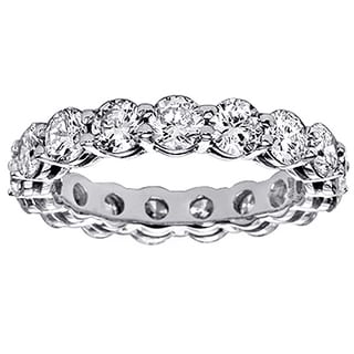 14k White Gold 3 1/5ct TDW Shared Prong Round Diamond Eternity Wedding Band