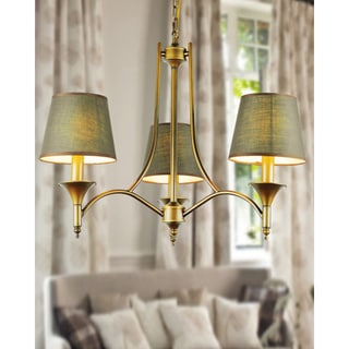 Copper Finished 3-light Chandelier with Fabric Shades