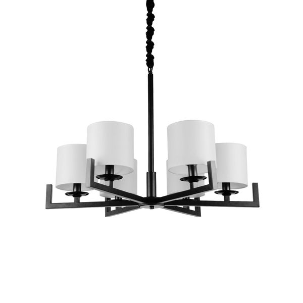Industrial Black Iron 6-light Chandelier with Fan Design