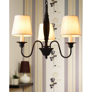Industrial 3-light Chandelier with Fabric Shades