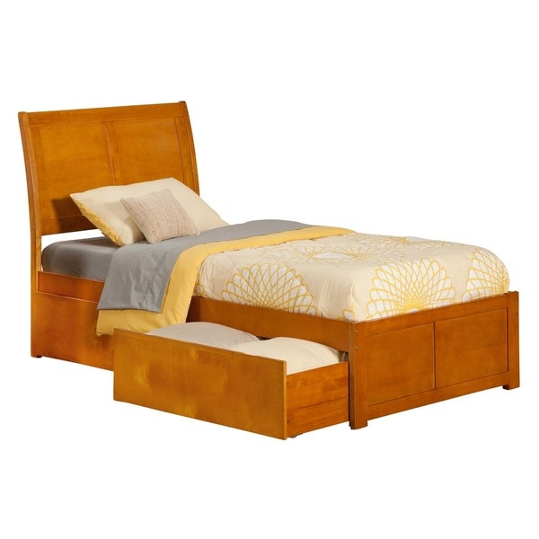 Portland Twin XL Platform Bed with Flat Panel Foot Board and 2 Urban Bed Drawers in Caramel