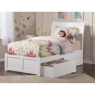 Portland Twin XL Platform Bed with Flat Panel Foot Board and 2 Urban Bed Drawers in White