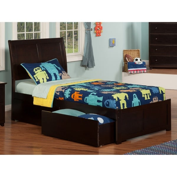 Portland Twin XL Platform Bed with Flat Panel Foot Board and 2 Urban Bed Drawers in Espresso