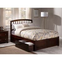 Richmond Full Platform Bed with Flat Panel Foot Board and 2 Urban Bed Drawers in Walnut