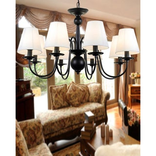 Black Iron 8-light Industrial Chandelier with Fabric Shades