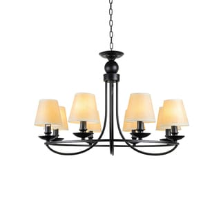 8-light Industrial Bowl Chandelier with Fabric Shade
