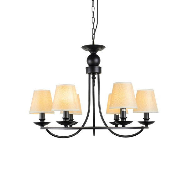 Industrial Iron 6 Light Chandelier With Fabric Shade