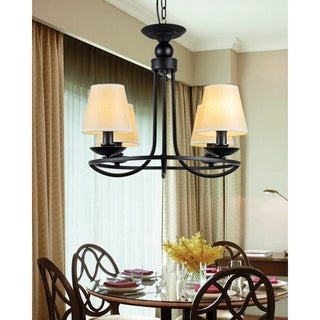 Industrial Black 4-light Chandelier with Fabric Shade