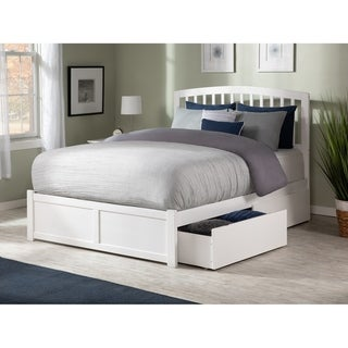 Richmond Full Platform Bed with Flat Panel Foot Board and 2 Urban Bed Drawers in White