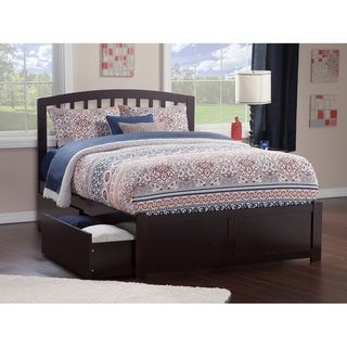 Richmond Full Platform Bed with Flat Panel Foot Board and 2 Urban Bed Drawers in Espresso