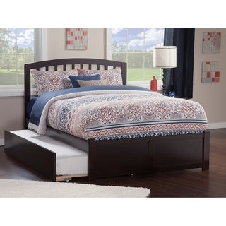 Richmond Full Platform Bed with Flat Panel Foot Board and Twin Size Urban Trundle Bed in Espresso