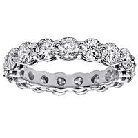 Platinum 3 1/5ct TDW Shared Prong Round Diamond Eternity Wedding Band