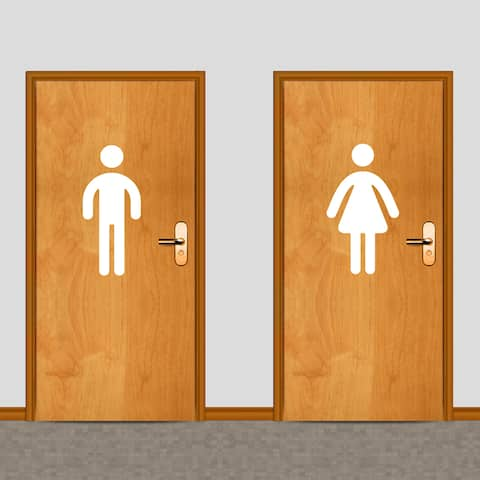 Men's and Women's Restroom 18-inch Tall Wall Decals