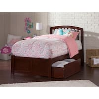 Richmond Twin Platform Bed with Flat Panel Foot Board and 2 Urban Bed Drawers in Walnut