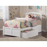 Richmond Twin Platform Bed with Flat Panel Foot Board and 2 Urban Bed Drawers in White