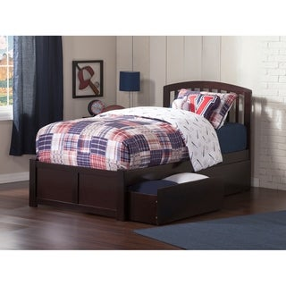 Richmond Twin Platform Bed with Flat Panel Foot Board and 2 Urban Bed Drawers in Espresso