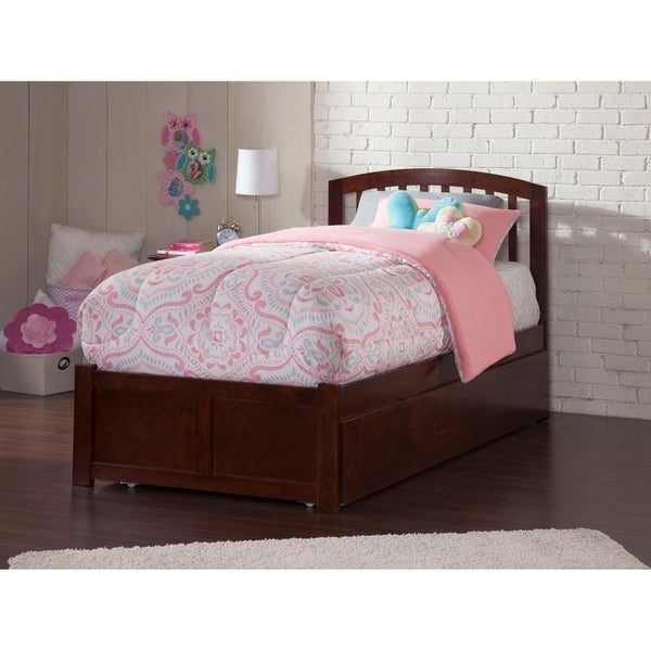 Richmond Twin Platform Bed with Flat Panel Foot Board and Twin Size Urban Trundle Bed in Walnut