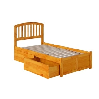 Richmond Twin XL Platform Bed with Flat Panel Foot Board and 2 Urban Bed Drawers in Caramel