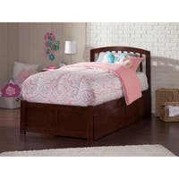 Richmond Twin XL Platform Bed with Flat Panel Foot Board and 2 Urban Bed Drawers in Walnut