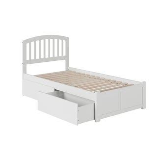 Richmond Twin XL Platform Bed with Flat Panel Foot Board and 2 Urban Bed Drawers in White