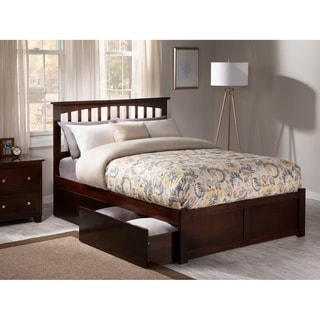 Mission Full Platform Bed with Flat Panel Foot Board and 2 Urban Bed Drawers in Walnut