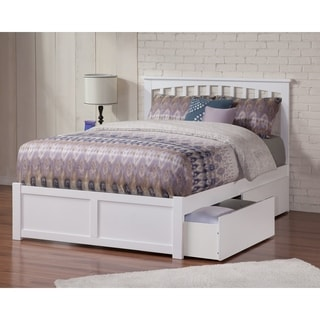 Atlantic Mission White Full Flat-panel Footboard 2-drawer Bed
