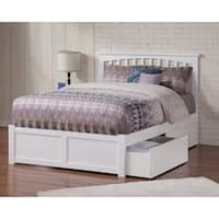 Mission Full Platform Bed with Flat Panel Foot Board and 2 Urban Bed Drawers in White