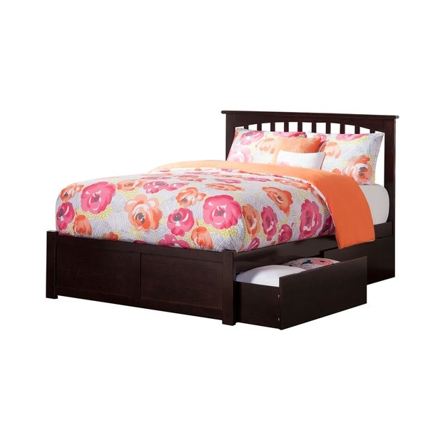 Mission Full Platform Bed with Flat Panel Foot Board and 2 Urban Bed Drawers in Espresso